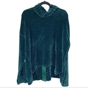 Marled Emerald Green Chenille Zip Back Sweater